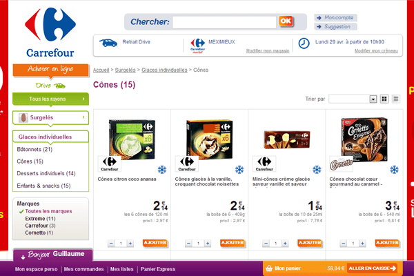 Le site internet Carrefour Drive